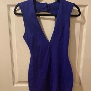 Blue V Neck Bodycon Dress